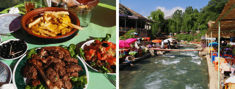 Essen am Ourika Fluss in Setti Fatma